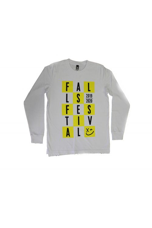 Chequered White Long Sleeve Tshirt by Falls Festival